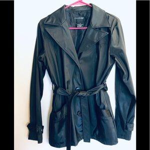 Outer Edge Black Vinyl-like Belted Coat Black